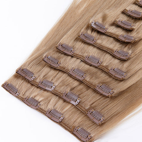 CLIP IN HAIR EXTENSIONS 100% REMY Hair Straight #12 Light Chestnut Brown