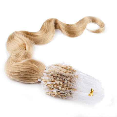 MICRO LOOP HAIR EXTENSIONS 100% REMY Hair Body Wave #24 Blonde