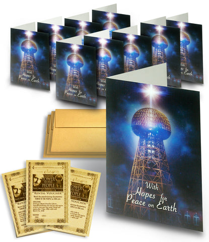 TESLA TOWER Holiday Card 10-PACK w/Movie Vouchers (Version 2)