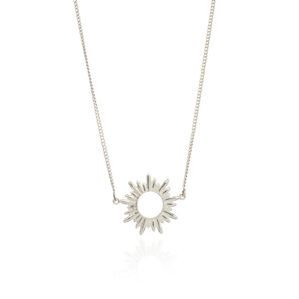 Sun pendant chain necklace silver Rachel Jackson London