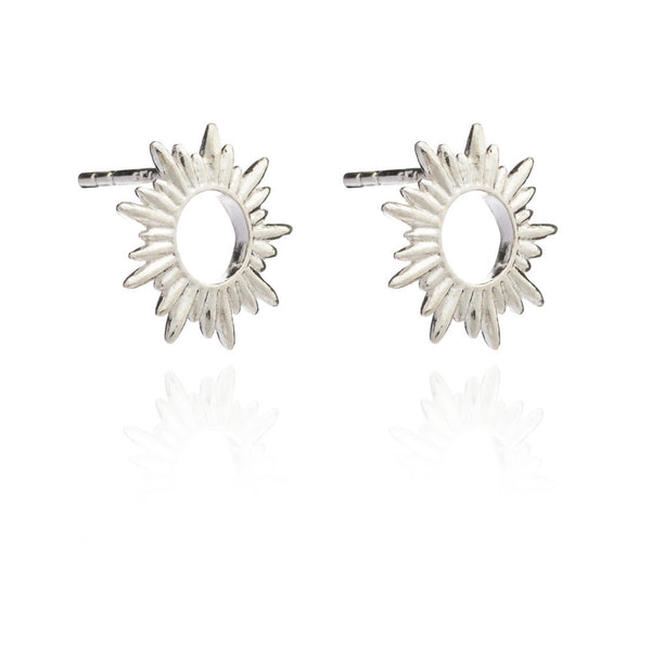 Sun stud earrings silver Rachel Jackson London