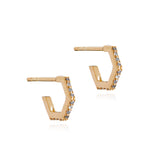 Hexagon diamond hoop earrings gold Rachel Jackson London