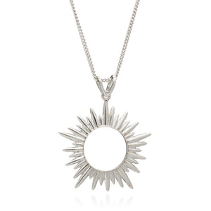 Electric Goddess Medium Sun Necklace - Silver
