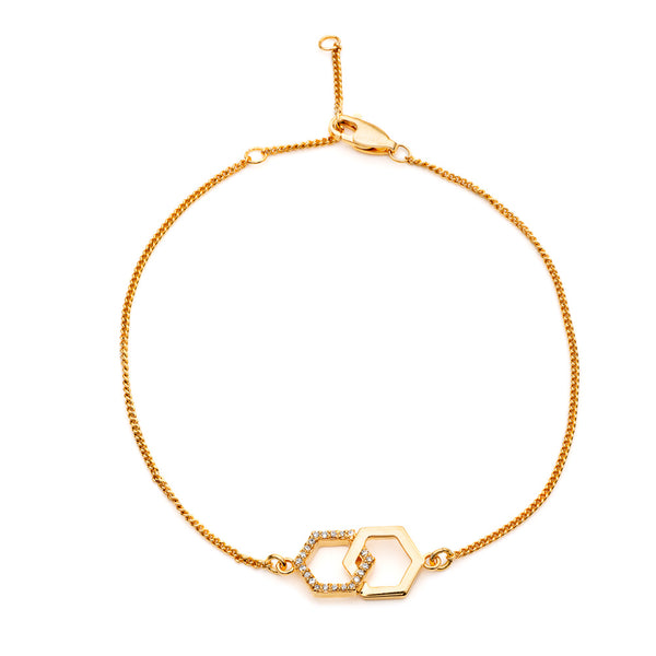 Infinity Diamond Hexagon Bracelet - Gold