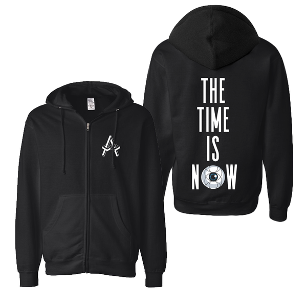 TIME IS NOW BLACK ZIP HOODIE