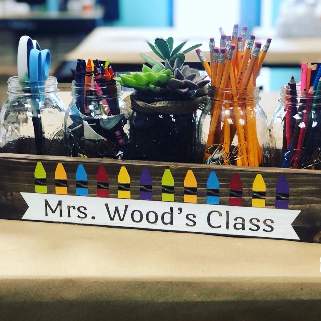 TEACHER NAME WITH CRAYONS: WOOD BOX