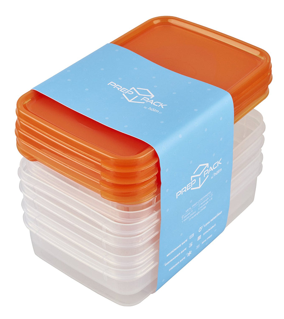 hölm BPA Free Reusable Square Food Storage Containers With Lids (Orange) – Leak Proof - Great For Meal Prep , 9 PCS Set