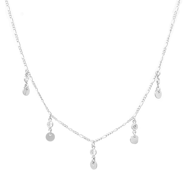 Casablanca Necklace. Sterling Silver Cubic Zirconia and Disc Necklace. Non-Tarnish and Water Safe.