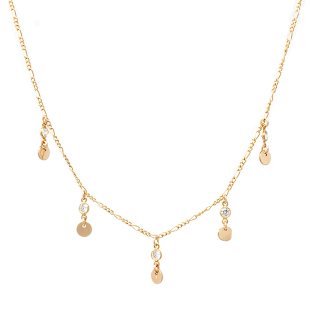 Casablanca Necklace. 14K Gold Fill Cubic Zirconia and Disc Necklace. Non-Tarnish and Water Safe.