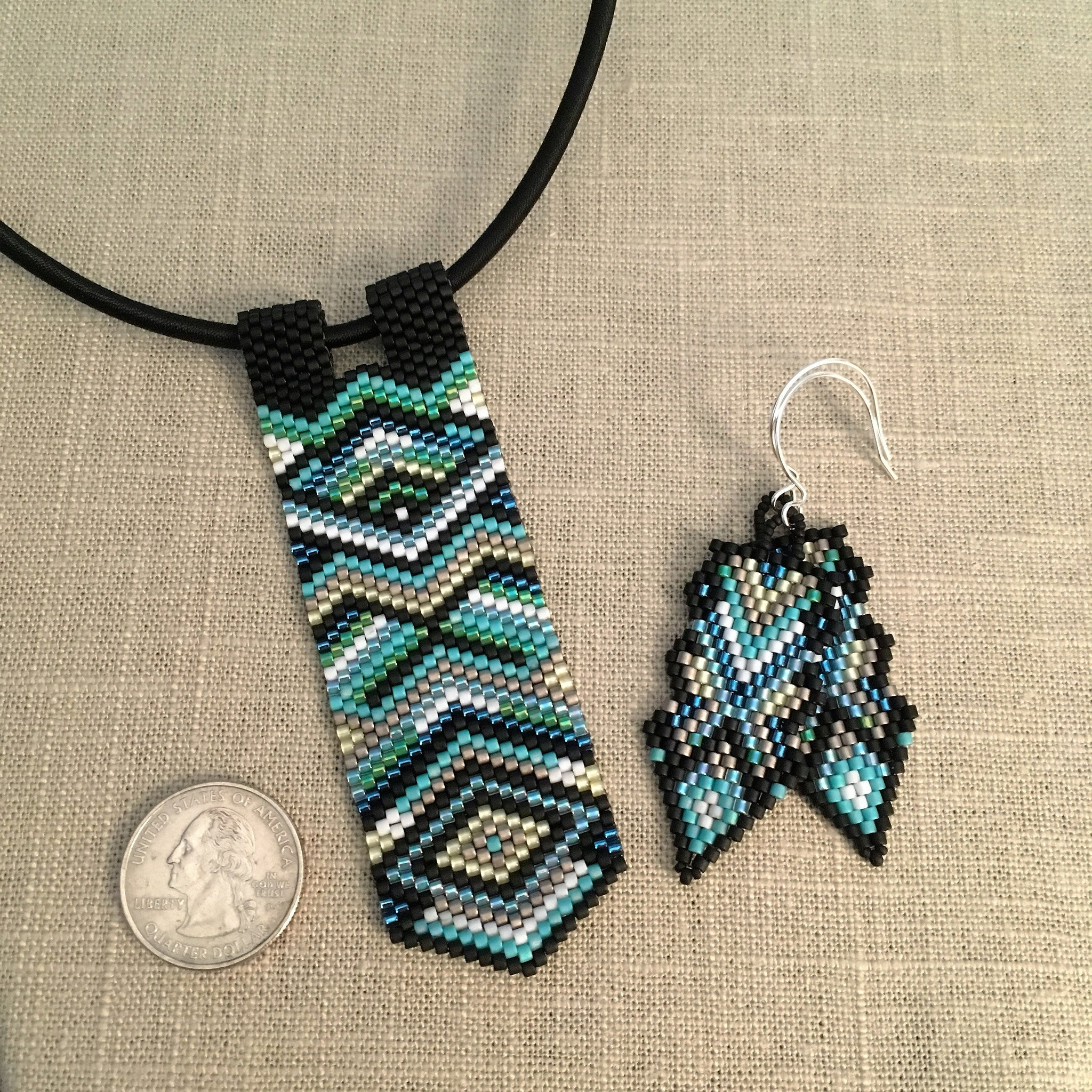 Peyote Pendant and Earring Set in Greens Blues Black and Silver