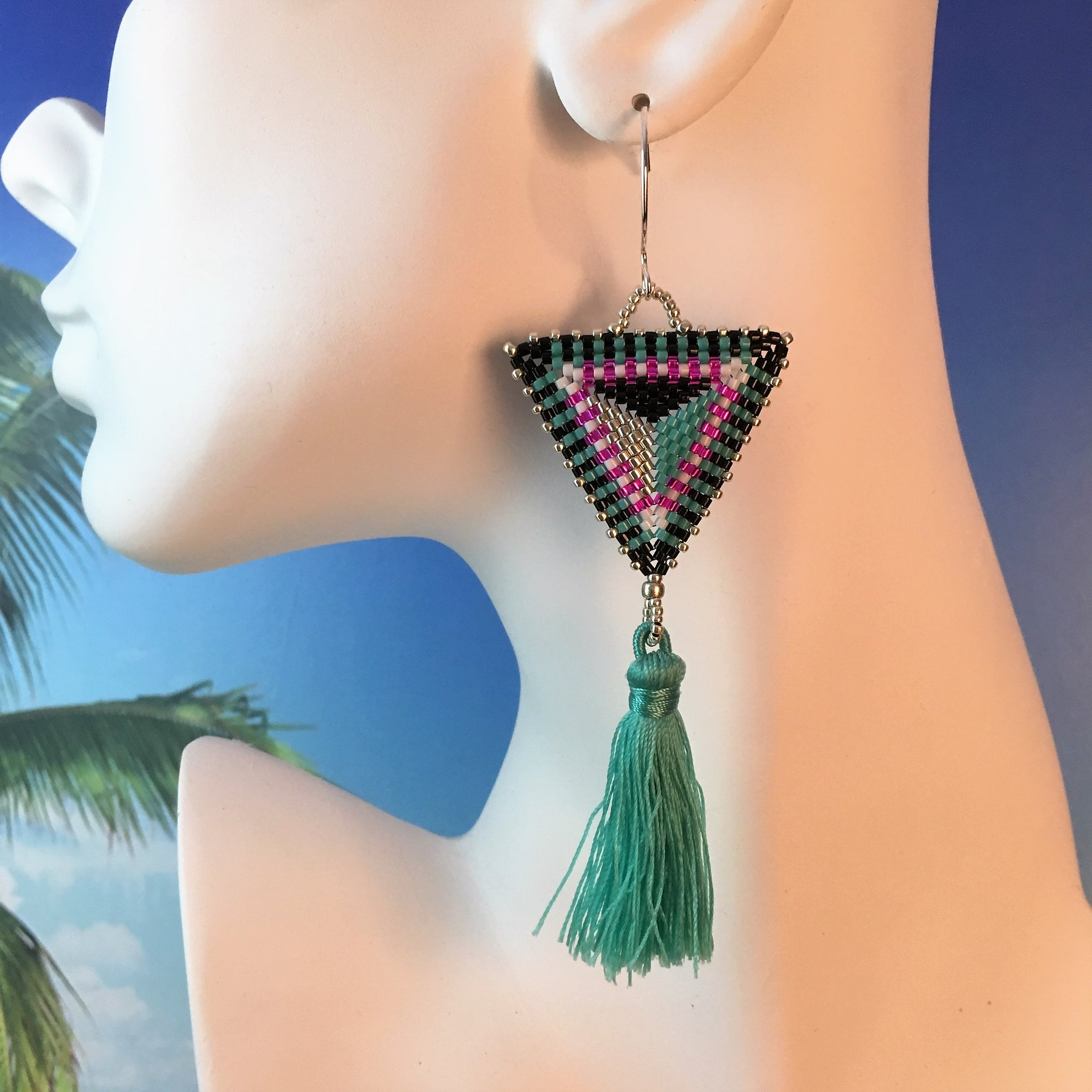 Bold Triangle beaded tassel earrings handmade turquoise teal modern unique custom
