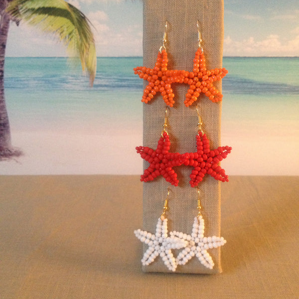 Starfish Beaded Earrings Handmade Vibrant Beach Colors coral orange red white