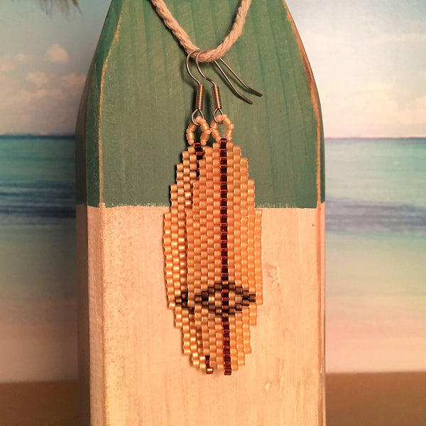 Surfboard Beaded earrings classic longboard Hobie beachy surf style