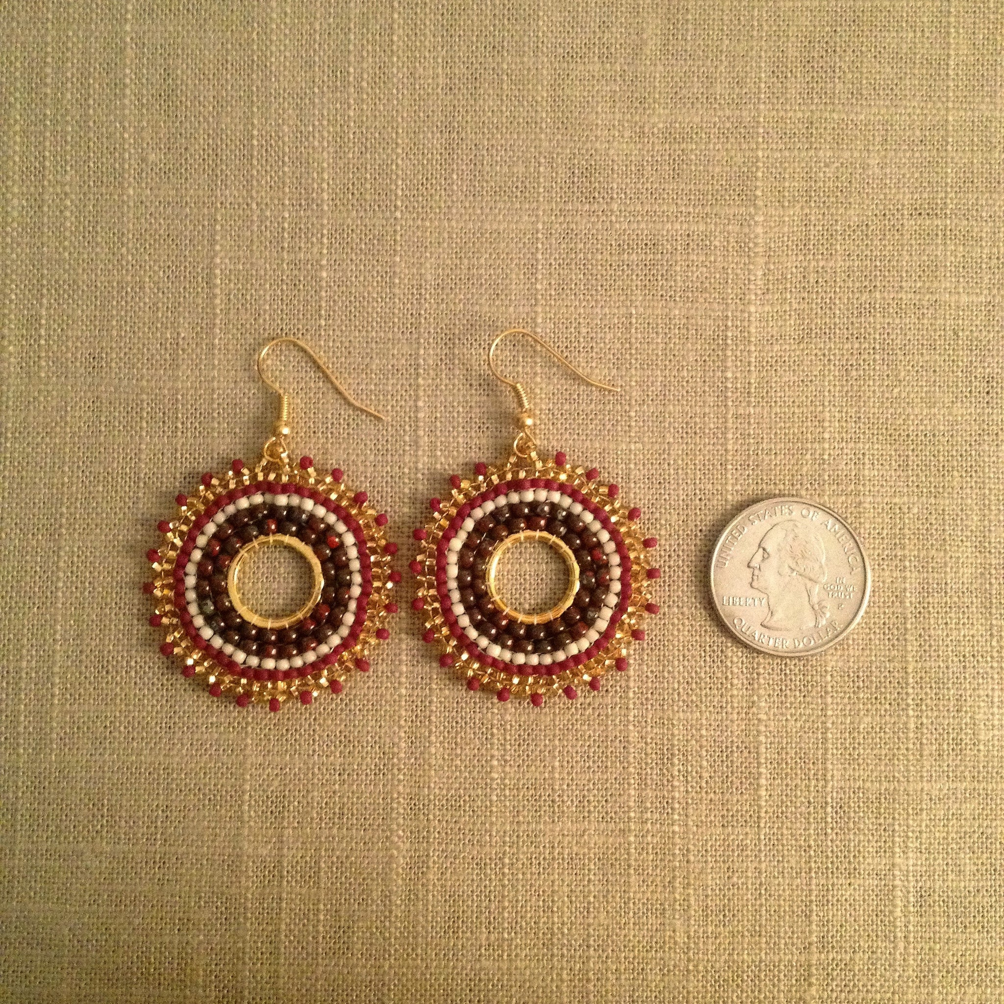 Garnet, Brown, Golden Yellow and White Sunburst Earrings