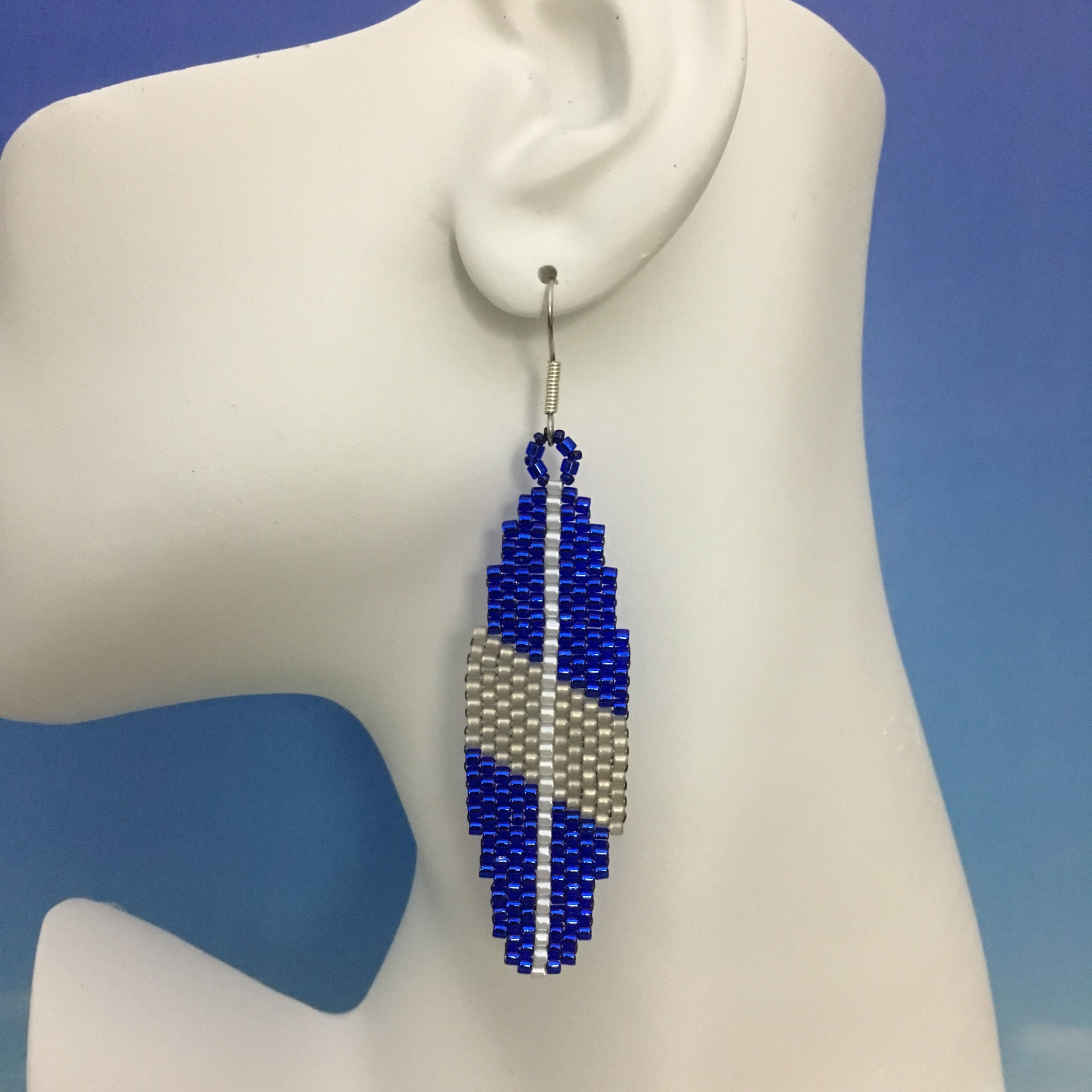 Surfboard beaded earrings Manasquan Team Colors Grey Blue BIG BLUE beachy handmade style