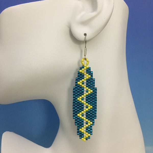 Surfboard beaded earrings handmade Custom Teal Zig Zag Electric bolt beachy fun style
