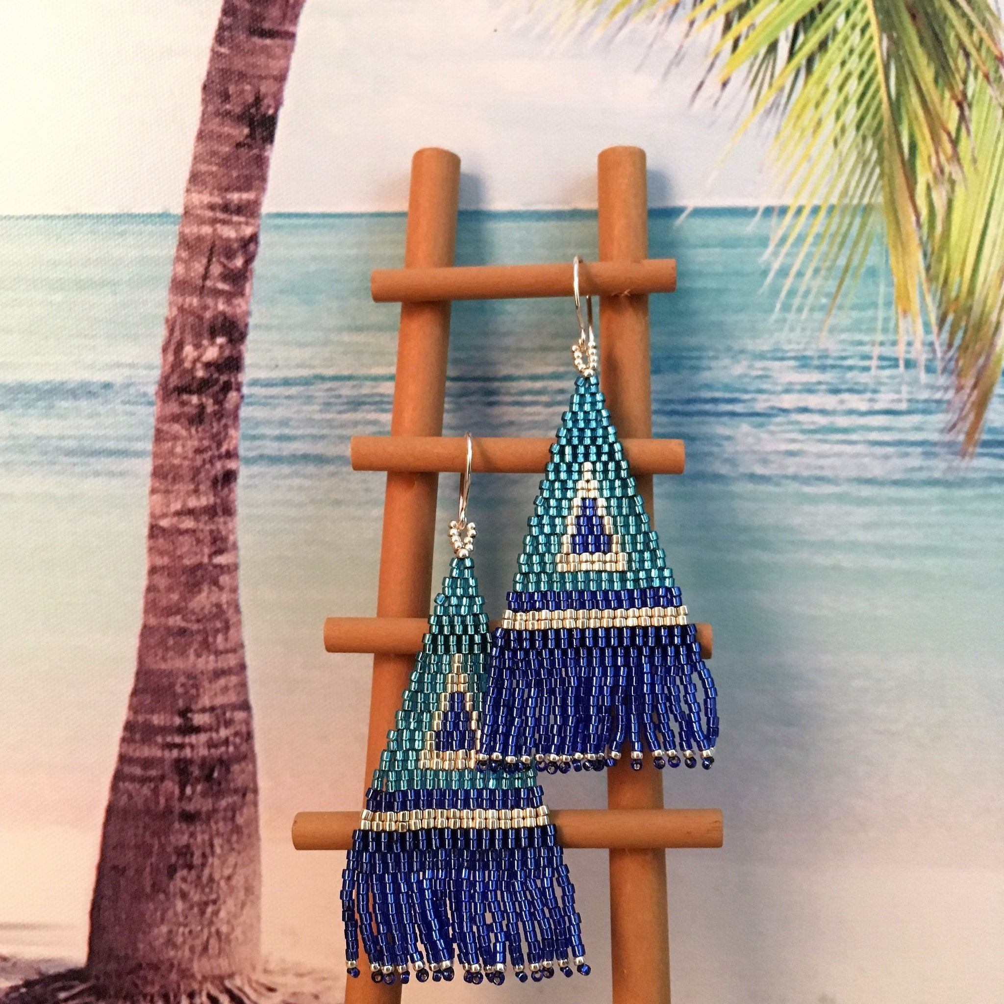 Beaded tassel fringe handmade earrings beachy blue long
