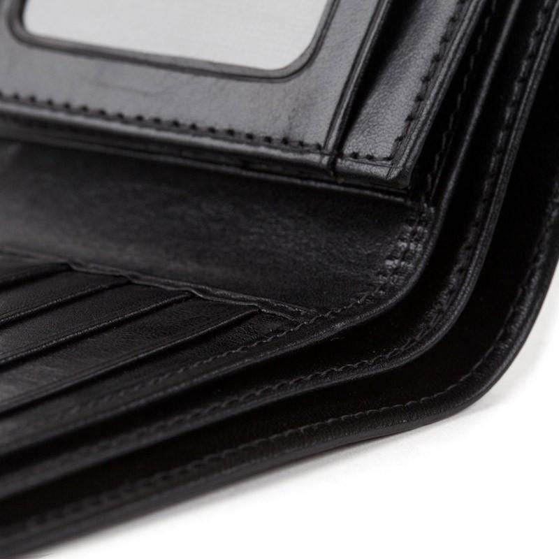Black Old Leather Classic Bi-fold with Card/I.D. Flap Wallet,WALLETS,GentRow.com, | GentRow.com
