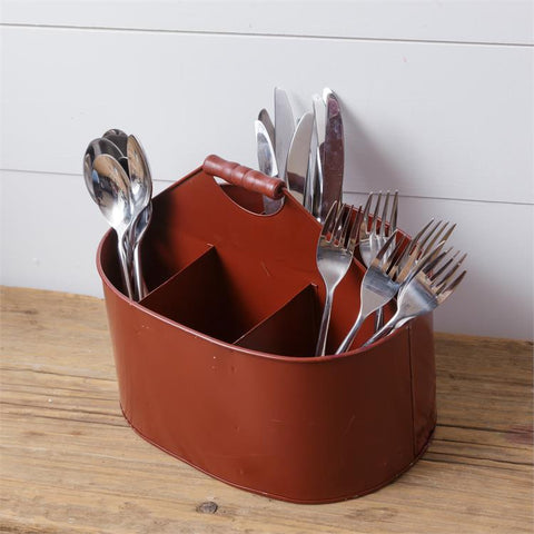 Rustic Red Divided Metal Six Bin Bucket Caddy