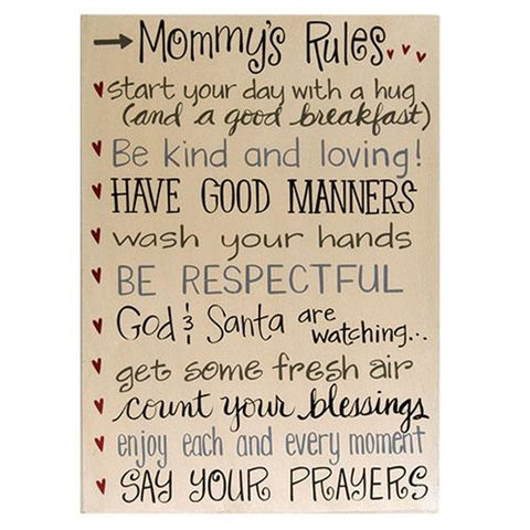 Mommy's Rules Distressed Wooden Box Sign