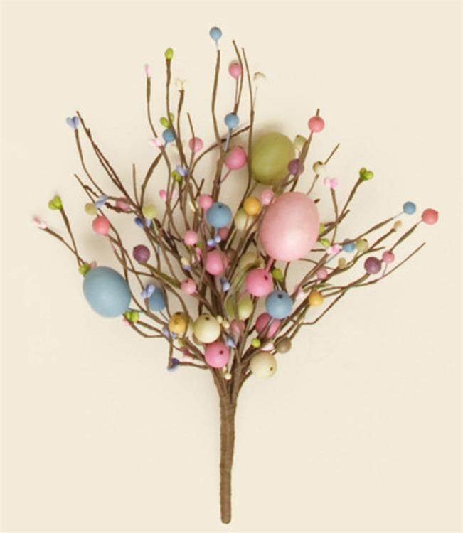 Spring Easter Pastel Egg and Berries Decorative Floral Spray Pick