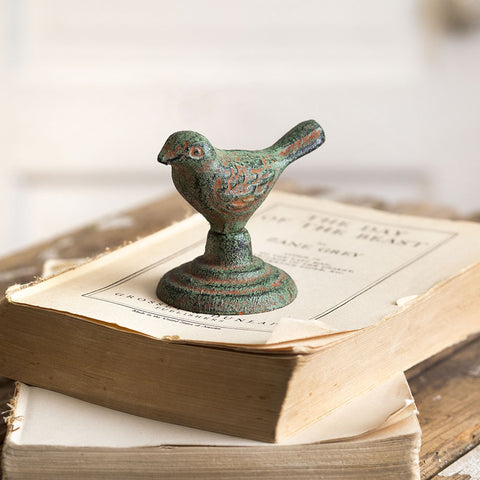 Cast Iron Chickadee Green Hued Bird Figure