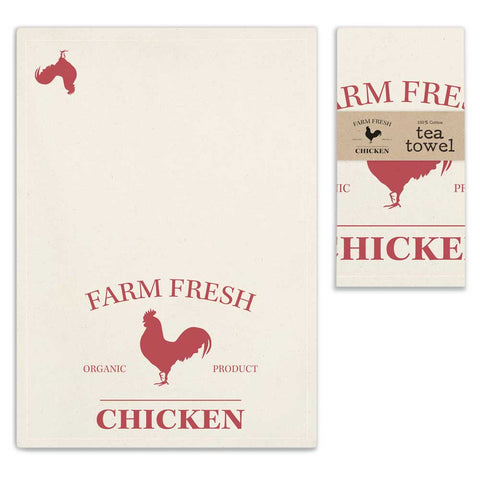 Farm Fresh Chicken Tea Towel 100% Cotton Tea Towel