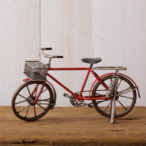 Red Retro-Style Bicycle with Basket Table Sculpture
