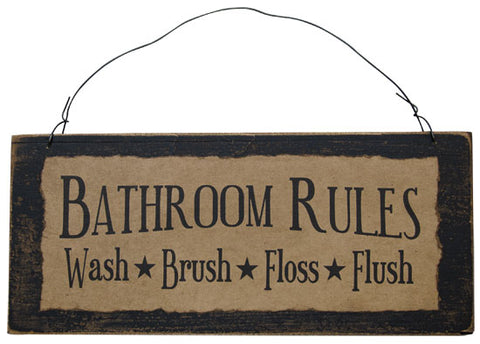 "Rustic Bathroom Rules 12.5"" Wooden and Fabric Sign"