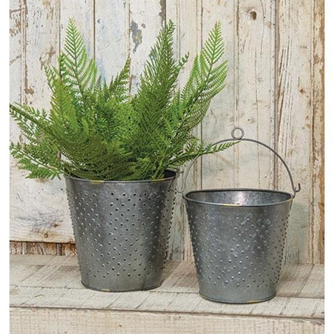Set of 2 Galvanized Metal Punched Buckets
