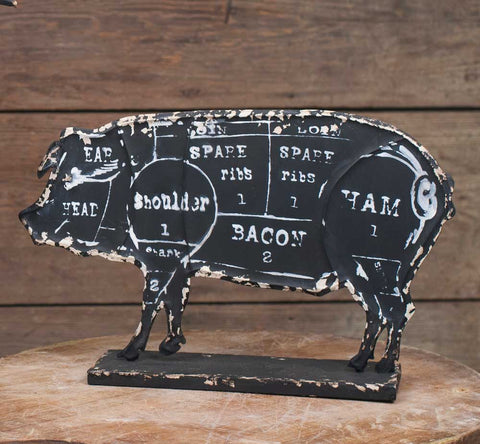 Farmhouse Distressed Butcher's Pork Chart - Pig Figure