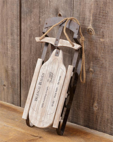 Distressed Decorative White Rustic Sled - Sleigh Rides