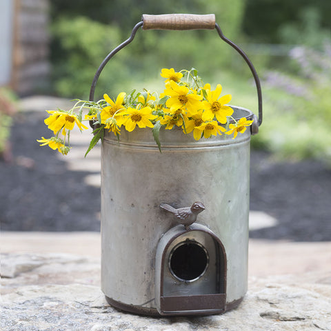 Garden Bucket Songbird Birdhouse Planter