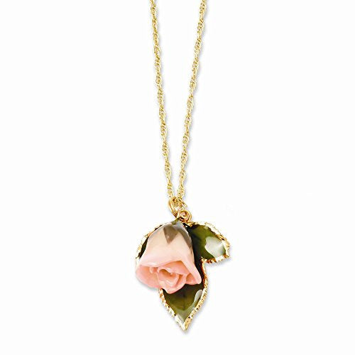 Lacquer Dipped Cream/Pink Rose Necklace with Gold-tone Chain - shopvistar