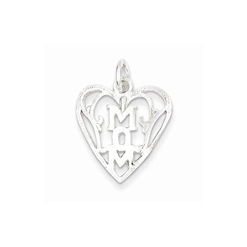 Sterling Silver Mom In Heart Pendant, Best Quality Free Gift Box Satisfaction Guaranteed - shopvistar