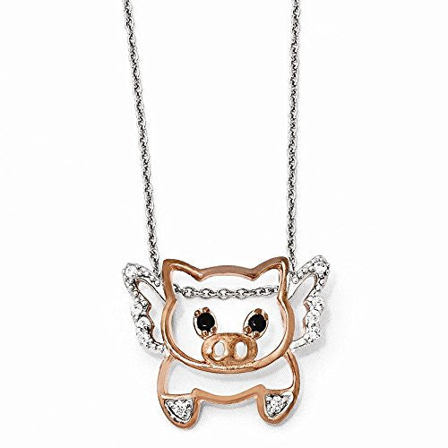 Sterling Silver Rose-gold Plated CZ Flying Pig 18 Necklace - shopvistar