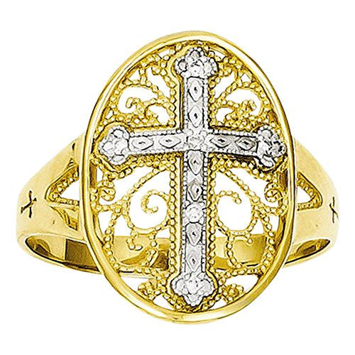 14k Yellow & White Gold Diamond Filigree Cross Ring, Best Quality Free Gift Box Satisfaction Guaranteed - shopvistar