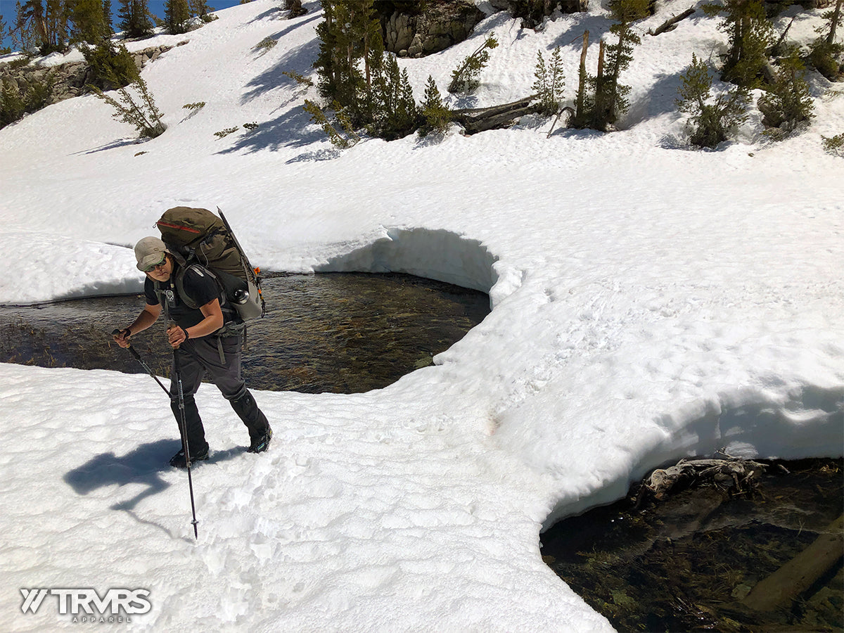 Snow Bridge Along route to Treasure Lakes - Medial Moraine - Little Lakes Valley - Inyo National Forest - Sierra Nevada Mountains | TRVRS Apparel