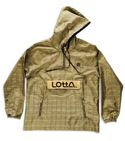 Brown tan Silk & Suede hooded windbreaker pullover