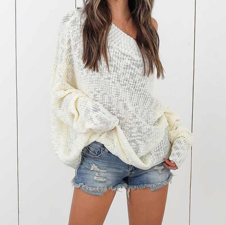 Loose Sexy Off-The-Shoulder Knit Sweater