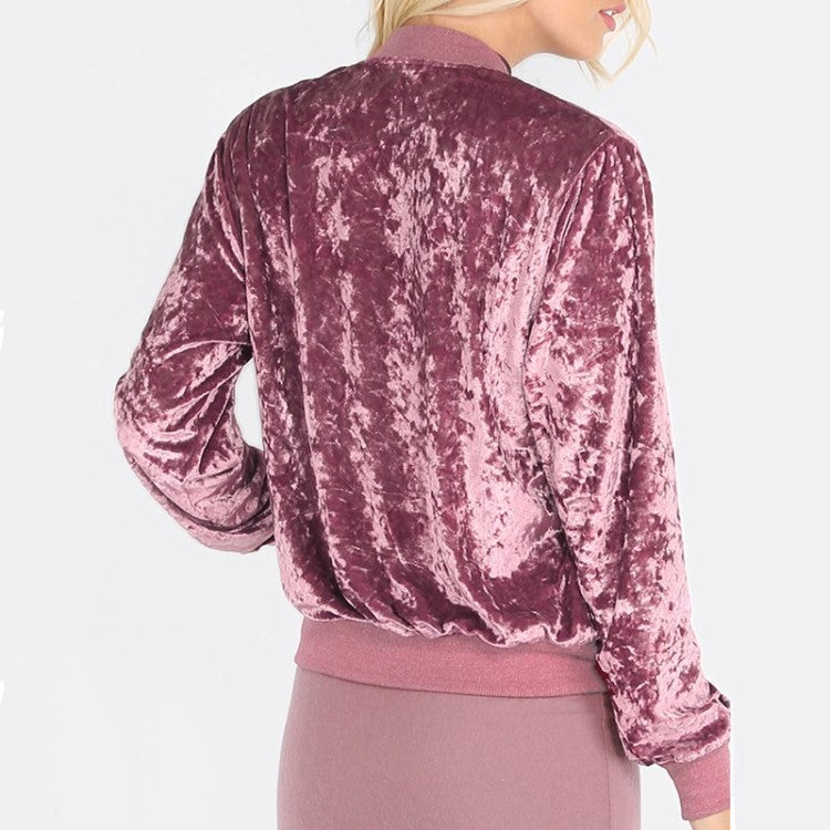 Pink Zip Up Ribbed Trim Velvet Bomber Jacket