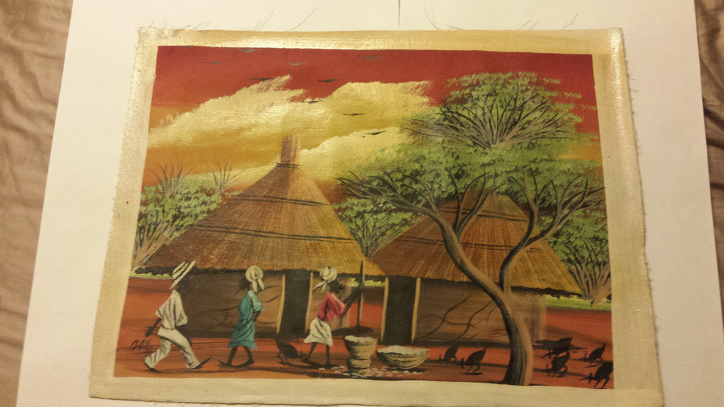 African Village painting on canvas