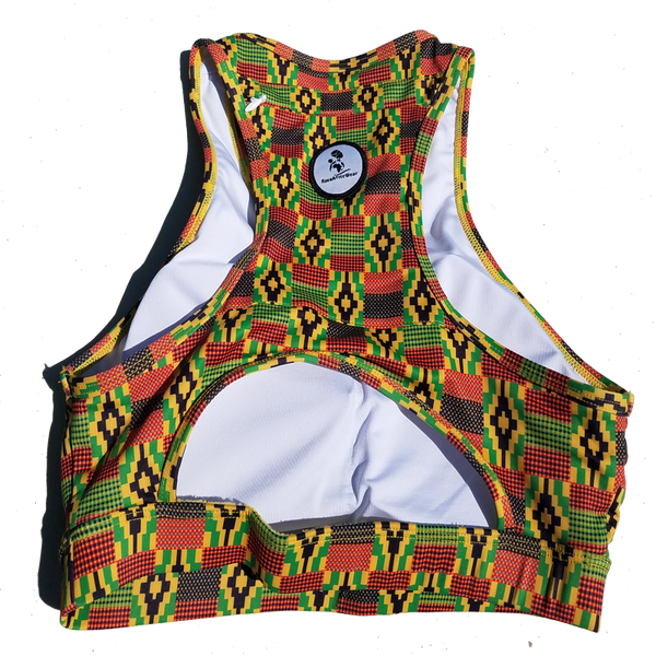 Kente Sports Bra with back Zippered Pocket