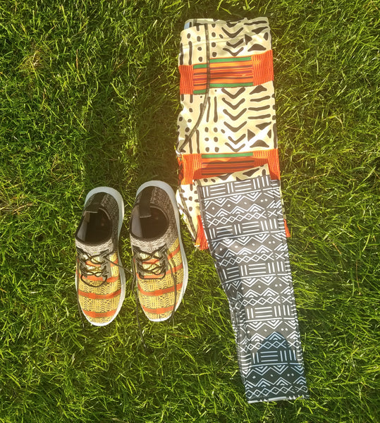 Kente and Mud Cloth Fusion Men's Leggings