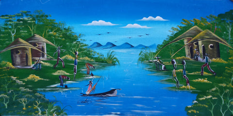 African River Activity Original Canvas Painting - Style #1