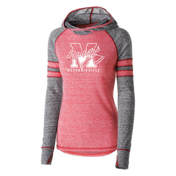 Mechanicville Red Raiders Hooded Two-Tone Long Sleeve- Girls & Ladies, 3 Colors