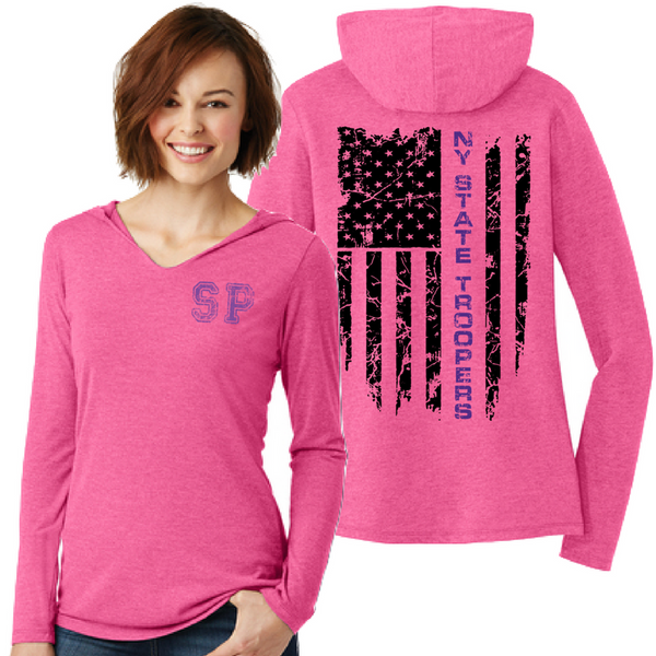 NYS Troopers Ladies Tri-Blend Hooded Long Sleeve- 3 Colors, 2 Logo Options
