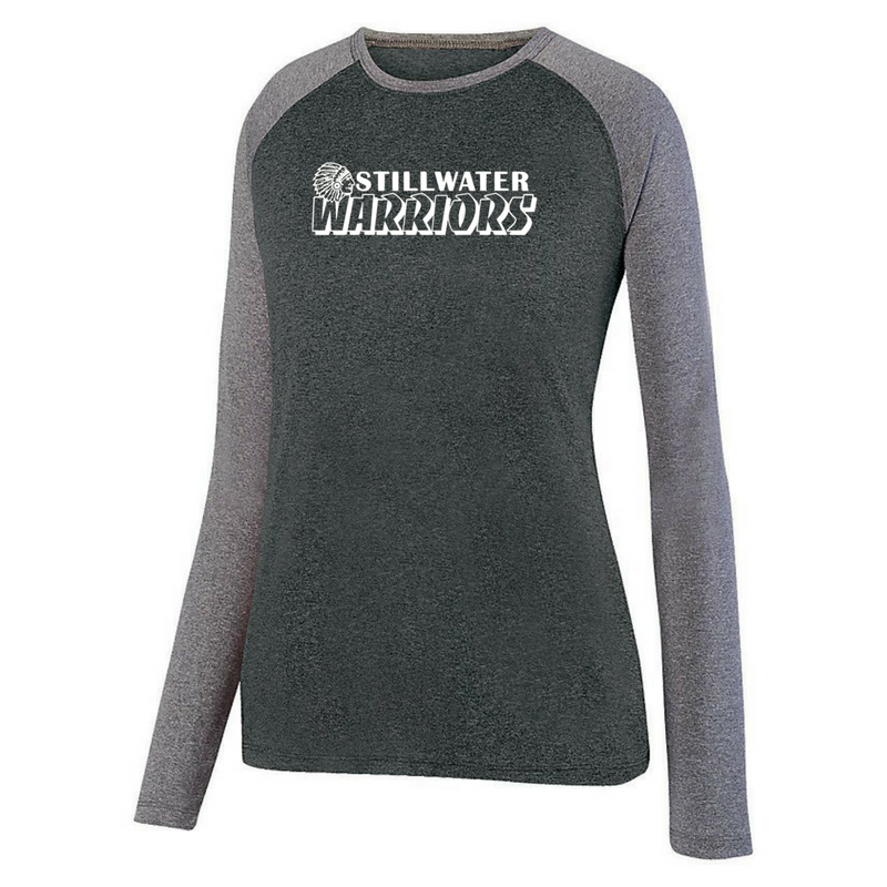 Stillwater Warriors Long Sleeve Heathered Colorblock Performance Shirt- Ladies & Men's, 3 Colors