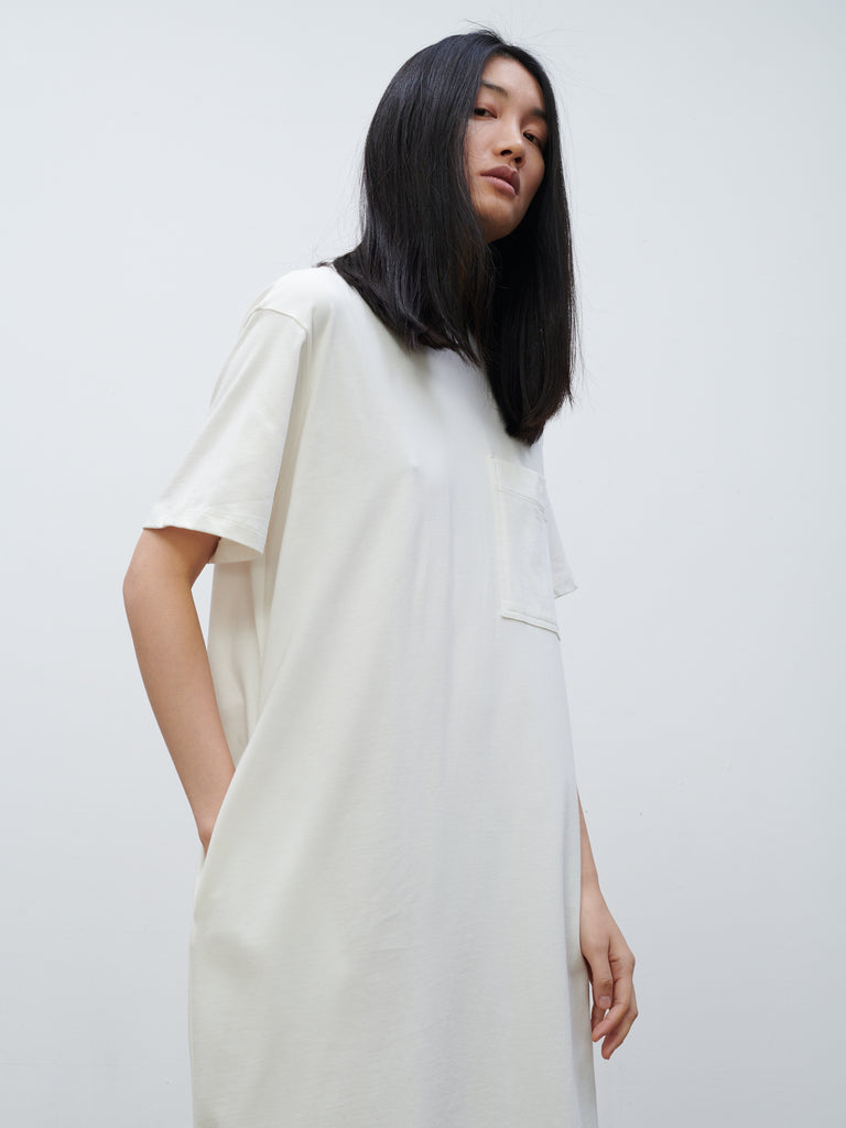 Boyd Jersey Dress In Optic White - Studio Nicholson
