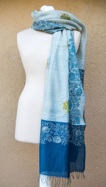 Floral border on blue and grey  – hand-woven and hand-embroidered scarf